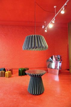 Folded Felt Table and Pendant Lamp