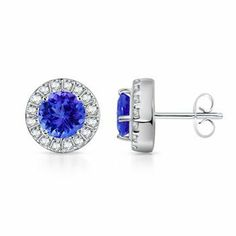 Round Tanzanite and Diamond Border Earrings (6 mm) in 14k White Gold by Angara, http://www.amazon.ca/dp/B00BF7UWVE/ref=cm_sw_r_pi_dp_dVJntb1PDJZ13