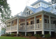 my dream house.porches wrap around the entire house, open floor plan, widows walk - Fox Home Design Southern Cottage, Southern House Plans, Cottage House Plans, Southern Homes, Coastal Cottage, Cottage Homes, Southern Living, Southern Charm, Southern Style