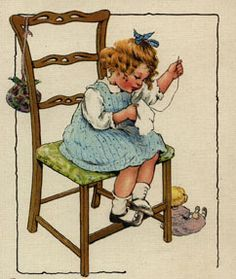 Teaching Kids to Sew.This reminds me of myself as a little kid learning to sew. Sewing Art, Sewing Crafts, Sewing Projects, Dress Sewing, Crochet Quilt, Funny Art, Sewing For Kids, Vintage Cards, Vintage Children