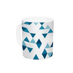 "Project M ""Triangles Blue"" Navy White Ceramic Coffee Mug"