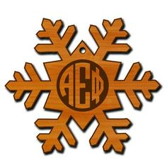 This Greek snowflake ornament comes with your fraternity or sorority engraved in the middle of the snowflake! Adds a nice touch to your tree! Snowflake Ornaments, Snowflakes, Greek Symbol, Custom Greek Apparel, Sorority Outfits, Greek Clothing, Screen Printing, Picture Frames, Symbols