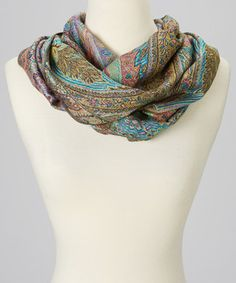 Love this Gray Paisley Cashmere-Silk Blend Infinity Scarf by  on #zulily! #zulilyfinds