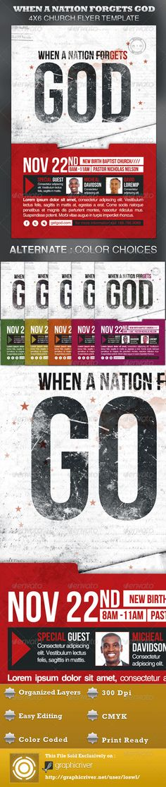 Buy When A Nation Forgets God Church Flyer Template by loswl on GraphicRiver. When A Nation Forgets God Church Flyer Template is great for any Contemporary Church Event. The templates can be used. Event Flyer Templates, Flyer Design Templates, Print Templates, Psd Templates, Music Flyer, Concert Flyer, Gospel Concert, Banners, Church Graphic Design