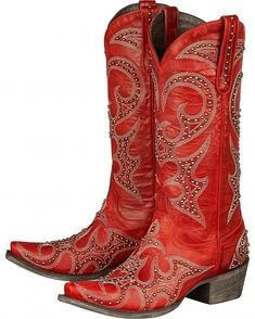 Red Lovesick Stud- Lane Cowgirl Boots