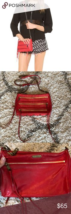 Rebecca Minkoff Unzipping is sexy. Now you get extra practice. This little moto-inspired leather crossbody is perfect for day trips or nights out, fitting just the essentials. Long swishy fringe adds a little drama. 100% real red leather. Gold brass hardware in mint condition!! Supersoft Rebecca Minkoff Bags Crossbody Bags