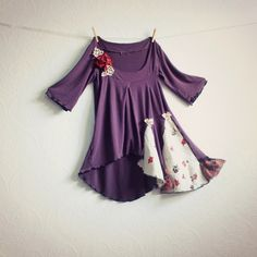 Image of  Romantic Purple Boho Shirt Women's Tunic Hippie Clothing Eco Gypsy Clothes Stretchy Knit Top Small
