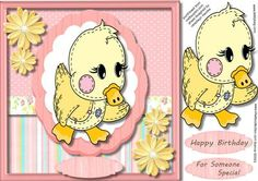 Little Stitched Up Duck  on Craftsuprint designed by Ceredwyn Macrae - A lovely card to make and give to any child on there birthday Little stitched up Duck a lovely cute card has two greeting tags and a blank one fot your choice of sentiment, - Now available for download!