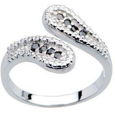 925 Sterling Silver Black zircon Toe Ring Body Piercing Jewelry