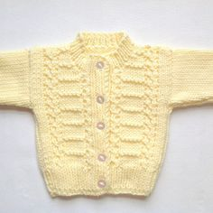 Infant hand knit yellow cardigan 0 to 6 months Baby yellow sweater Baby shower gift Baby cardigan Gift for new baby Baby Knitting Patterns, Baby Cardigan Knitting Pattern Free, Yellow Cardigan, Knit Cardigan, Knit Baby Sweaters, Baby Yellow, New Baby Gifts, Baby Month By Month, Pulls