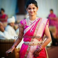 South Indian Bride in Bright Pink Bharghavi Kunam Saree