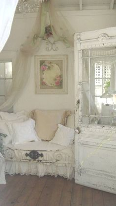 This is such a pretty space with a shabby chic feel to it.