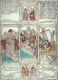 In this page from a 15th-century Netherlandish 'Biblia Pauperum', the central image shows Christ being laid in the tomb, watched by his mother Mary, St John, and Mary Magdalen. To the left is an image of Joseph who had been thrown into a pit by the Egyptians (Genesis 37: 22-24, 37-50); to the right is an image of Jonah who was swallowed by a whale and after three days disgorged alive and whole on the coast of Syria (Jonah 1-3). (15c printed book)