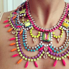 Could never wear but pretty colors!!! NEON Vintage rhinestone necklace on Etsy, $180.00
