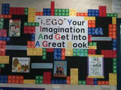 LEGO bulletin board, have pre k kids make Legos with cup prints then use on bulletin board                                                                                                                                                      More