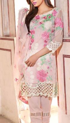 Buy Baby Pink Embroidered Chiffon Dress by Charizma 2016