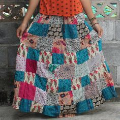 Lovely pink blue flowers Patchwork Skirt by meatballtheory on Etsy, $20.00