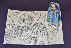 Jezus geboren, knutselen met kleuters / free manger scene