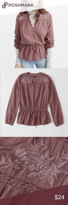 NWT A&F Embroidered Top Abercrombie & Fitch. Brand new with tags. Size medium, mauve color is sold out online. This top is adorable and has beautiful detailing, it just didn't fit my post-baby body like I thought it would. || Bundle & Save! Abercrombie & Fitch Tops Blouses