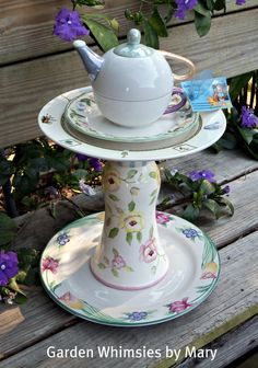 Garden Totem Teapot Spring Flowers - As Featured In Valley Homes & Style Magazine. $60.00, via Etsy.