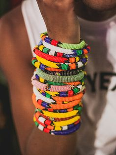 African-inspired, layered accessories, beaded jewellery in primary colours etc. - Paul Ward