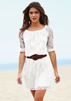 $34.50- Would be cute with teal heals! Allover Long-Sleeve Lace Dress