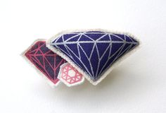 screen-printed and stuffed gem brooch with pin