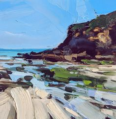 New landscape sea drawing ideas Impressionist Landscape, Abstract Landscape Painting, Seascape Paintings, Landscape Paintings, Oil Paintings, Impressionism, Abstract Oil, Beach Landscape, Landscape Art
