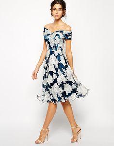 Chi Chi London   Платье миди для выпускного из органзы с принтом Chi Chi London на ASOS