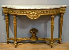 19th C French Carved Gilt Wood Marble Topped Console - Antiques Atlas