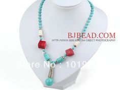 New fashion vintage jewelry long turquoise and red coral necklace pendant Free shipping