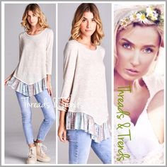 Alabaster Patchwork Ruffle Hem Top Comfy lightweight knit top. Fresh spring colors of alabaster and pastels patchwork print. 3/4 length sleeves. Add this beauty to your wardrobe. Size S, M, L Threads & Trends Tops