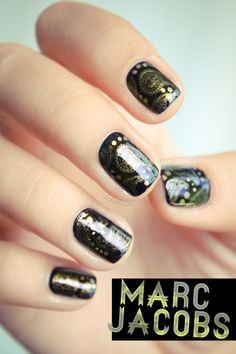 Essie Licorice stamped with Chanel Peridot and plate 315 from Bundle Monster