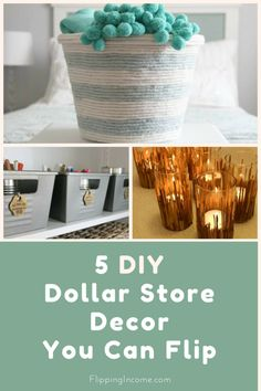 Do you love shopping at Dollar Stores? What about DIY projects? This post is all about combing life's two guilty pleasures, DIY Dollar Store Decor! Diy Home Decor Bedroom For Teens, Diy Home Decor For Apartments, Diy Home Decor Rustic, Diy Home Decor On A Budget, Dollar Tree Fall, Dollar Tree Finds, Dollar Tree Crafts, Office Inspiration, Best Small Business Ideas