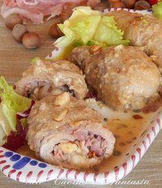 involtini di carne ripieni di prosciutto cotto e nocciole
