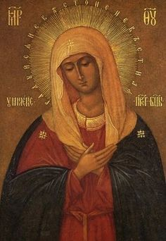 """Icon of the Virgin of Tenderness. """"The Virgin Mary is represented at the moment of uttering her Fiat; with lowered eyes she is very humbly listening to the archangel's words. We know that Father Seraphim was never separated from this icon and that he died kneeling in prayer before it."""" """"""""...the icon of the Virgin of Tenderness...the Staretz named this icon 'Joy of all joys' and he loved to call himself her 'servant'. He used to sing the Easter hymns before her: 'Rise, shine, O new…"""