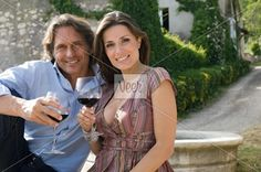 Couple with wine Stock Photo
