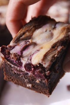 Cherry Garcia Brownies--With CHERRIES and CREAM CHEESE SWIRLS --brownie mix base