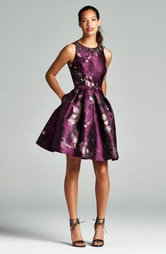 Eliza J Embellished Neck Jacquard Fit & Flare Dress available at #Nordstrom