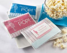 """""""About to Pop"""" Microwave Popcorn Favor (Pink or Blue)"""