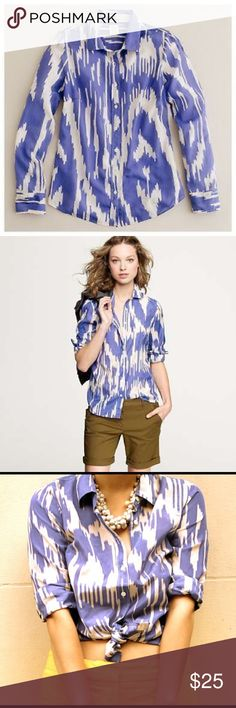 J. Crew Ikat blouse J. Crew the perfect shirt in purple and white ikat. A timeless piece in a fun and bright pattern. In great condition. J. Crew Tops Button Down Shirts