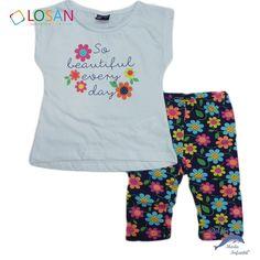 05924359e Conjunto de niña LOSAN camiseta y malla margaritas