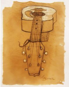 Guitar in perspective rough contour charcoal by brandycattoor, $27.00