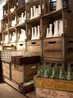 Á La Crate vintage rentals: a custom, found, and reclaimed event rental warehouse. Located in Madison, WI. Vintage Crates, Vintage Props, Milk Crates, Wood Crates, Crate Bookcase, Crate Shelving, Bottle Display, Bottle Garden, Glass Collection