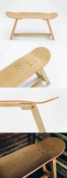 """The Wood one"" - Skateboard Furniture by @bakedroast. #skateboard #furniture"