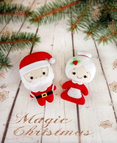 Christmas Decorations Santa and Mrs Claus Christmas by BelkaUA