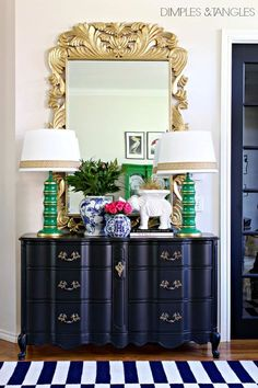 Interior Decor Designs My Five Favorite Paint Colors-Tricorn Black- Dimples and Tangles Driven By Decor, Green Lamp, Favorite Paint Colors, Home Decor Accessories, House Colors, Painted Furniture, Furniture Design, Buffet, Interior Decorating