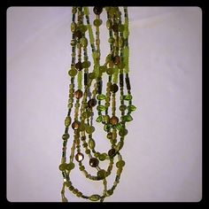 Necklace Multi colored , multi strands, greens and browns beaded necklace Jewelry Necklaces