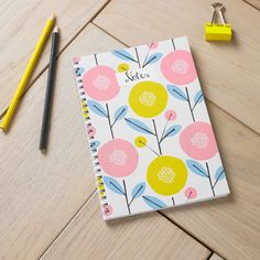 Scandi Floral Notebook Allover Floral Printed by GingerLineDesigns