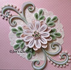 Lovely Quilled Floral design on a doily - by: Jen's Quilling